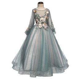 Piano costumes online shopping - Girl princess dress long sleeved tulle birthday dress for middle and large children host dress green children s piano costume