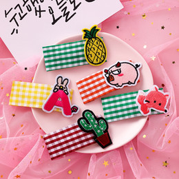bb cute NZ - Korea ins cute cloth cartoon embroidery hairpin animal fruit bb clip sweet girl Liu seaside clip hair accessories