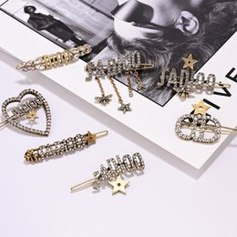 7 Patterns Shinning Hair Clips Retro Letter Design Women Barrettes Party & Banquet Trendy Girls Hiar Jewelry on Sale