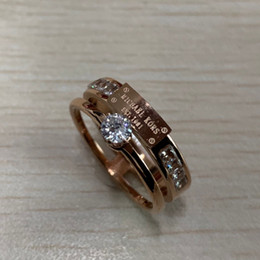 Black ring pink diamonds online shopping - 316L Titanium steel lovers wedding diamond Rings k rose pink gold filled engagement anel anillo Size for Women
