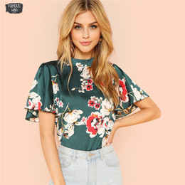 women blouse butterfly print Australia - Blouse Women Stand Collar Keyhole Back Shirt Floral Summer Butterfly Sleeve Workwear Blouse Elegant Women Clothing