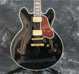 335 Black Guitar NZ - Semi Hollow Body 335 Electric Guitar Beauty Black Gold Hardware