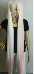 Long straight white wigs online shopping - Hatsune Miku White Pink Mix cm Extra Long Straight Cosplay Split Wig