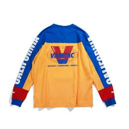 Letter Blocks Australia - Long Sleeve T-shirt Color Block Cotton Tee Men Letter Printed Casual Tops