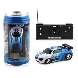 Discount racing battery box - wholesale Electric Wireless Speed Racing RC Cola Cans Car Toys Four-way Remote Control Cars Model Toy For Children Birth