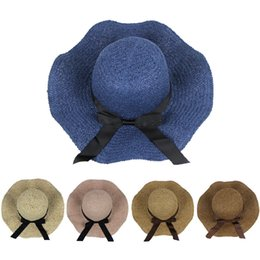 d5888561b022a Spring and summer sun hat new girl shopping out beach hat bow wrinkle wave  edge sun straw straight visor breathable