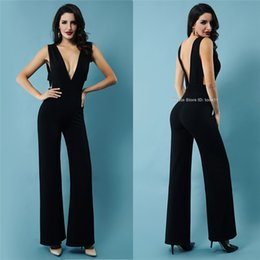 Women Fashion Jumpsuit Australia - Fashion Summer Women Elegant Jumpsuits Black Sexy Deep V-Neck Backless overalls Party Club Bodysuit Jumpsuit Slim Sleeveless Rompers Casual