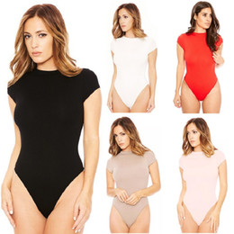 bodysuit for women wholesale UK - New Summer 2020 Fashion Jumpsuits For Women Sexy Bodysuit O-neck Short Sleeve Skinny Bodysuits High Stretch Beach Women Clothing