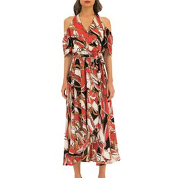 be496eaac6 Ladies fashion summer bohemian travel vacation casual wind backless  strapless irregular dress hanging neck sexy dress 40