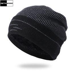 Mens Winter Beanies Australia - [NORTHWOOD] Mens Winter Beanie Hats Plus Velvet Thicken Warm Skullies Knitted Hat Outdoor Bonnet Homme Ski Hat Cap