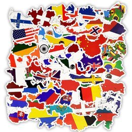 Wholesale 50 National Flags Stickers Toys for Children Countries Map Travel Sticker to DIY Scrapbooking Suitcase Laptop Car Motorcycle L