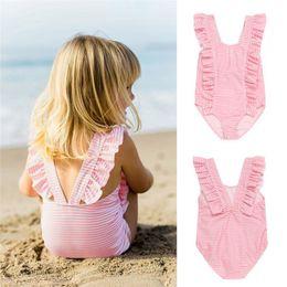 Swimwear Infant Australia - Summer Swimwear for Girls Infant Kids Baby Girls Striped Ruffles Backless One Pieces Swimwear Beach Swimsuit Clothes JE22