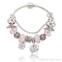 crystal 3mm UK - Pink sakura love heart Pendant Charms Bracelet for Pandora 925 Silver 3mm Snake Chain Charm Bracelets for Women with Original logo