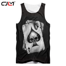 punk skull shirt Australia - CJLM Men Tank Tops Black Cool Print Skull Poker 3D Vest Hombre Hip Hop Punk Style Crewneck Sleeveless Shirts Undershirts 5XL CX200630