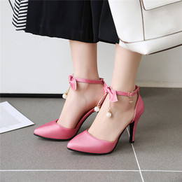 ankle chain pumps NZ - YMECHIC 2020 Summer Fashion Elegant Sexy Bead Chain Bow High Heel Pumps Women Shoes Ankle Strap White Pink Womens Party Shoes