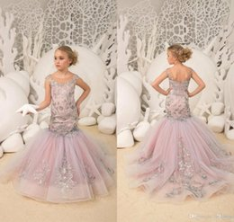 Wedding Wear For Toddlers Australia - Mermaid Flower Girls Dresses With Silver Lace Appliques Kids Toddlers Pageant Gowns For Wedding Party Prom Birthday Wear