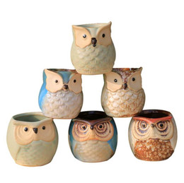 $enCountryForm.capitalKeyWord Australia - Creative Ceramic Owl Shape Flower Pots 2019 New Succulents Ceramic Planter Desk Flower Pot Cute Design Succulent Planter Pot