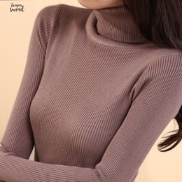 Wholesale female turtleneck tops resale online - Sweaters Elastic Long Sleeve Turtle Neck Female Pullovers Winter Autumn Women Clothes Jumper Turtleneck Streetwear Knitted Tops Black Red S