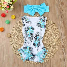 4286b7e2f468 Newborn Baby Girls clothes Flower ball sleeveless Romper Jumpsuit headbands  baby clothes summer cotton Playsuit baby body suit