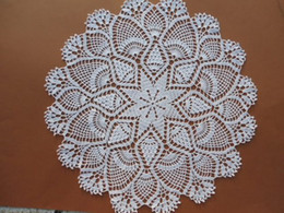 "Discount hand crocheted tablecloths - 1PCS White Hand crochet doily, large doily, pineapple doily, 19 "" OR 49CM, lace tablecloth Cotton"