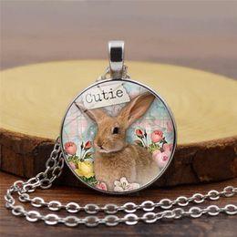 $enCountryForm.capitalKeyWord Australia - Easter Bunny Necklace Time Gemstone Alloy Pendant Rabbit drawings Statements Glass Cabochon Pendants Jewelry