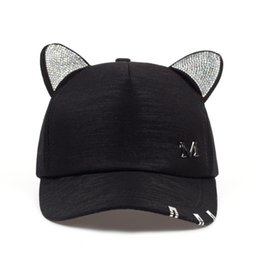 cat ears baseball cap Canada - 2019 new meow Women's Summer fall black white Pink hat Cat ears Cat Baseball cap with rings and lace cute girl hat