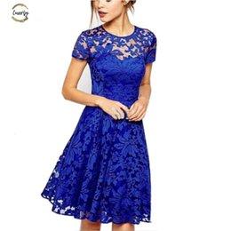 Sexy princeSS clothing online shopping - Women Fashion Sweet Lace Dress Hallow Xl Out Sexy Party Princess Slim Dresses Vestidos Blue Plus Size Sundress Designer Clothes