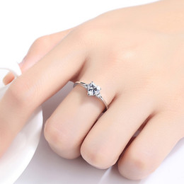 Birth Rings Australia - Simple girls cute Ring Women Heart shape AAA CZ White Gold Color Jewelry Fashion Wedding Rings For Women Birth Stone Gifts