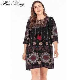 Wholesale mini tunic resale online – Plus Size Summer Dress Women Embroidery O Neck Floral Print Short Mini Dress Casual Loose Ladies Tunic Beach Dresses