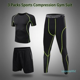 working t shirt Canada - Men Fitness Sport Sports Set With Compression T-shirt Loose Fitting Shorts Tight Leggings Pants For Gym Yoga Running Work Out Size:M-3XL