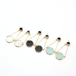 $enCountryForm.capitalKeyWord Australia - Gold Color Black White Green Turquoise Round Marble Earrings Natural Stone Charms Dangle Earrings Jewelry For Women