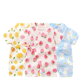 Discount christmas boutique clothes - New design toddler rompers boutique cartoon fruit bear short sleeve cotton jumpsuit kids climbing clothes free shipping