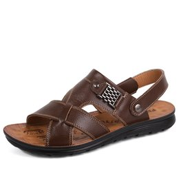 new design casual sandals Australia - Casual Slippers Sandals New Men Breathable Shoes Size 38-44 Slip-on Design Man Summer Leather Sandals
