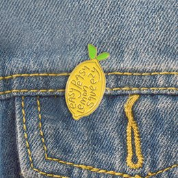 Fruits brooches online shopping - Lemon enamel pin Easy peasy Brooches Gift for Kids friends Fruit icons Pin Badge Button Lapel pins for Denim Clothes cap bag
