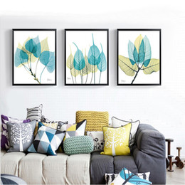 Abstract Pictures Office Walls Australia - Watercolor Green Leaves Abstract Nordic Canvas Paintings Wall Art Pictures Poster Print Kitchen Living Room Home Office Decor