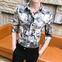 2861441f109a Streetwear Slim Fit Print Casual Shirts For Men Blouses Korean Mens Clothes  Summer Men Shirt High Quality Half Sleeve Shirt