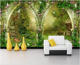 Wholesale country roads for sale - Group buy 3d landscapes wall custom murals Fantasy idyllic arch country road D TV sofa background wall d mural on the wall