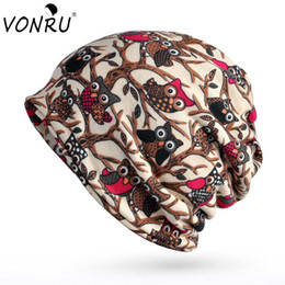$enCountryForm.capitalKeyWord Australia - VONRU Fashion Women Winter Beanie Owl Pattern Slouchy Cap Multi-function Knitting Double Layers Caps Bonnet Hat Scarf for Women