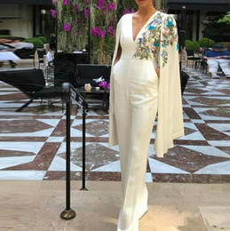 $enCountryForm.capitalKeyWord NZ - 2019 african elegant jumpsuits Wedding Dresses v neck simple wedding gowns Custom Made Lace Arabic stain Embroidery Bridal Party Gowns
