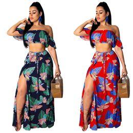 e443154d9e2 New Sexy Ruffles Slash Neck Crop Top and Split Long Skirt Women 2 Two Piece  Set 2019 Summer Floral Print Boho Beach Dress Outfit