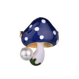 Wholesale 2019 Cute Mushroom Women Brooches Yellow Blue Red mm Fashion Jewelry Simulation Pearl Mushroom Brooch Pins b490