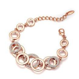 Vente en gros 3 pcs Géométrique Cercles Bracelet Strass Pavé Double Couche Femmes Bijoux De Mariage 3Colors Femmes Bijoux Accessoires Cadeaux