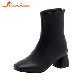 elegant high heel fur boots 2019 - KARIN New Elegant Square Toe Booties Ladies Plus Size 28-52 Winter Fur Ankle Boots Women 2019 High Heels Shoes Woman che