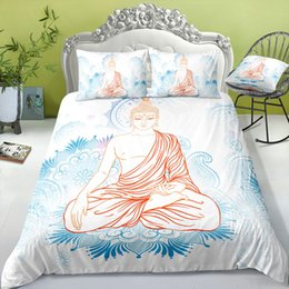 rose white cover Australia - Buddha Bedding Set King Size Elegant Simple Sacred Duvet Cover White Queen Twin Full Single Double Bed Cover with Pillowcase 3pcs