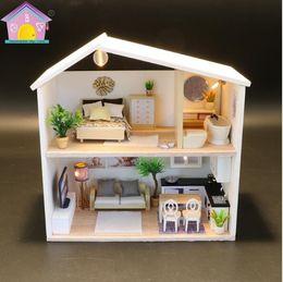 boneca toys 2019 - New Doll House CASA DE BONECA Miniature Diy Puzzle Toy Model Wooden Furniture Toys Birthday Gifts cheap boneca toys