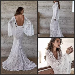 $enCountryForm.capitalKeyWord Australia - Lace Boho Mermaid Wedding Dresses New Long Sleeve Sexy Open Back Bohemian Bridal Gowns Beach robe de mariage Deep V Neck Wedding Dress AY47