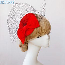 $enCountryForm.capitalKeyWord Australia - wholesale Hot Sale Red Wedding Hat Vintage Birdcage Veil with Black Tulle Women Evening Party