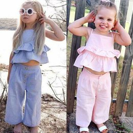 19a14672e Baby girls outfits children Stripe Sling vest top+pants with headband 3pcs  set 2019 Summer fashion Boutique kids Clothing Sets C6287