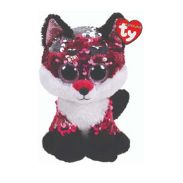 """Discount heart stuffed animals - Ty Sequins Flippables 6"""" 15cm Jewel the fox Plush Regular Big-eyed Stuffed Animal Collection Doll Toy with Heart Ta"""