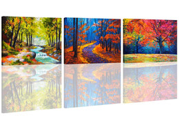 $enCountryForm.capitalKeyWord UK - Canvas Prints 3 Panels Maple Forest in Autumn Landscape Wall Art Painting Printed Picture Stretched Framed for Home Decoration Ready to Hang
